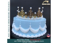 Crown Cake Topper Decoration Mini Princess For Kids Princess Themed Baby Shower Birthday Party Tiara Decoration - Mahkota Permaisuri Hiasan Kek Kanak Kanak