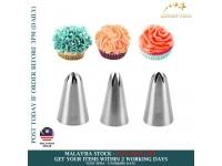 3in1 Cake Tips Set Cream Decoration Icing Piping Pastry Nozzles #1M#2D#2F-Set Acuan Aising Kek (3 Saiz)