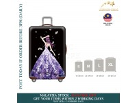 18-30'' PURPLE FLORAL LADY Elastic Travel Luggage Dustproof Cover Trolley Sarung Pembalut Pelindung Bagasi