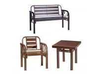 FULL SET GARDEN Furniture METAL Bench (Anti-Rust) / 1 Single Chair & 1 Two Seater & 1 Table / Meja Kerusi Taman Outdoor