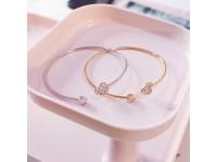 Malaysia Stock! Women's Crystal Love Heart Hand Cuff Open Bracelet Gold Silver - Gelang Tangan Wanita