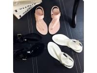 Women Belt Buckle Design Jelly Sandals T-Strap Flip Flops Clip Toe Ladies Roman Shoes - Kasut Wanita - BLACK/ PINK/ WHITE