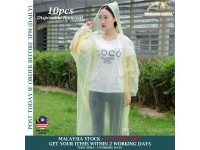 10x Disposable Raincoat Clear Rain Poncho/Jacket with Hoods for Hiking & Outdoor - Baju Hujan -Yellow