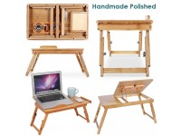 Adjustable Portable Multifunctional Bamboo Folding Laptop Desktop PC Notebook Stand Sofa Desk Bed Tray Drawer - Meja Mini Laptop