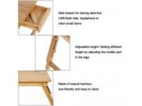 Adjustable Portable Multifunctional Bamboo Folding Laptop Desktop PC Notebook Stand Sofa Desk Bed Tray Drawer - Meja Mini Laptop