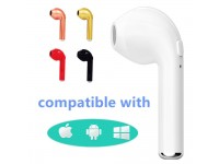Single i7 Mini Bluetooth Stereo Earphones Headphone Charging USB Earbuds - RED
