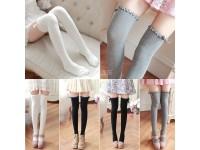 Japan Style Ladies Socks Ribbon Stocking Cotton Lace Thigh High Leg Warm Winter Comfy Girls - Stokin Panjang Wanita