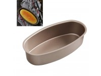 Kitchen Accessory Oval Shape Cake Mold 8-Inch Non-Stick Ellipse Cheesecake Bread and Meat Bakeware Champagne Gold- Acuan Kek