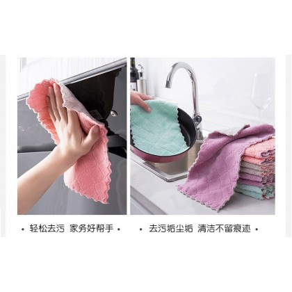 Kitchen Cleaning Super Absorbent Tablecloth Dishwashing Dishcloth Kitchen Double-Sided Rag Fleece Thickened Pineapple Oil-Free Absorbent Rag Hand Towel