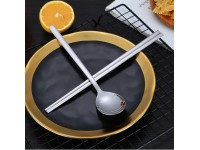 Luxury and Heavy High Quality 1 Set Korean Chopstick Spoons Stainless Steel Tableware Korean Fashion