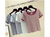 Striped Round Neck T-Shirt Short Sleeve Autumn Korean Fashion Women Summer Girl Students