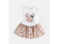 2018 summer children's skirt girls floral flying sleeves two-piece short-sleeved Mickey Dress 4-5Y