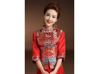 Abetteric Womens Embroidered 2Pcs Dragon and Phoenix Chinese Wedding Dress Wedding Cheongsam Tang Suits 165CM