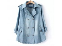 Fashion Denim Trench Coat Hooded Outerwear Jean Jacket cowboy female slimming Top trench coat