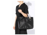 New Simple Nylon Space Cotton Large Capacity Travel Casual Top Handle Handbag (Black )