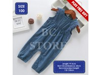 Baby Girl Denim Blue Jumpsuit with Cotton Lace Flowery Sleeve Side Button Overal