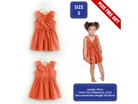 Girls' Orange Red Dress with Frilly Neckline And Ribbon Gaun Budak Perempuan