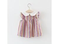 Color Bar Skirt New Summer Girls Kid Striped Cotton Princess Dress Comfortable Cute Baby