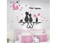 3D Acrylic Creative Wall Sticker Cute Couples Cats