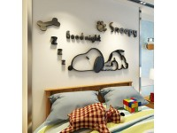 3D Acrylic Wall Sticker Cute Sleepy Snoopy Creative Wall Decoration Living Room Bedroom