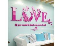 3D Acrylic Wall Sticker Romantic Love Couple Bedroom Living Room Home Decor Mural Cafe