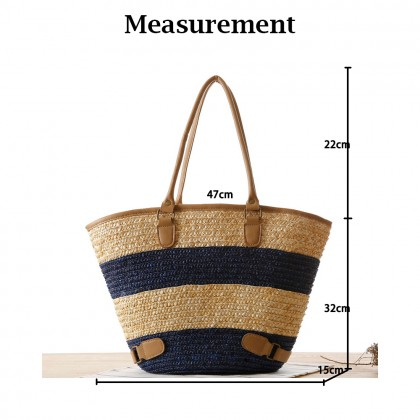 Straw Bag with LARGE Colour Stripe