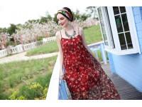 Bohemian Summer Chiffon Midi Floral Dress Casual Beach