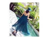 *CLEARANCE Women Chiffon Evening Summer Holiday Beach Party Ball Gown Prom Long Dress Clothes Maxi Dress Wear Sleeveless Large Size Big Skirt Gift Blue