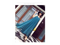 *CLEARANCE Women Chiffon Evening Summer Holiday Beach Party Ball Gown Prom Long Dress Clothes Maxi Dress Wear Sleeveless Large Size Big Skirt Gift Blue