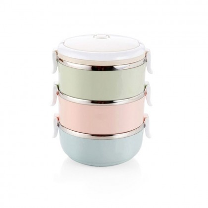 Multicolor Double Layer Stainless Steel Lunch Box Mangkuk Tingkat