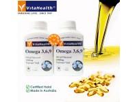 [Twin Packs] Omega 3 6 9 Oil of Flaxseed Halal Vegetarian Capsules 1000mg