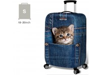 18-32'' Denim 3D CUTE CAT IN POCKET Elastic Travel Luggage Dustproof Cover Trolley Case Suitcase Protector