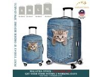 18-32'' Denim 3D CAT POPULAR KITTEN WEDDING DRESS JEANS  Elastic Travel Luggage Dustproof Cover Trolley Case Suitcase Protector
