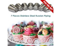 7pcs Make Icing Piping flowers gorgeous Russing Noozle Stainless Steel