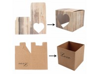 25PCS Kraft Paper Square Candy Boxes Wedding Party Gift Favor String Tags Box