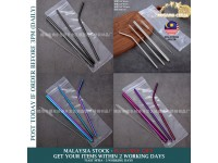 5 Pcs of Stainless Steel Drinking STRAW - Environmental Friendly Reusable & Washable Cleaning Brush Metal Set Party Home