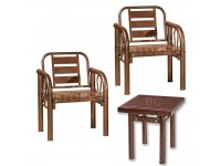 [ 1 SET ] Stainless Steel Garden Set Bench Chair + Table Metal Backrest Simple - Set Meja Taman