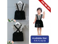 *CLEARANCE Adorable 2 Piece Baby Girl Toddler Kid Dress with Suspender Stripe Print Cotton T Suspender Skirt Frilly Sleeve