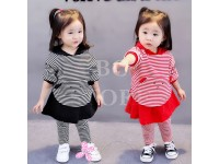 2 Piece Black And White Stripe Blouse with Long Pants and Cute Hoodie Front Kangaroo Pocket