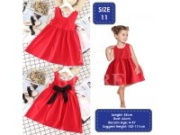 Pretty Toddler Girls' Sleeveless Cross Back Dress with Black Ribbon Simple Dress Ribbon Back Gaun Merah Budak