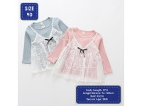 Baby Girl Toddler Dress with Long Sleeve Cotton Top And White Lace Dress Gaun Lace Budak
