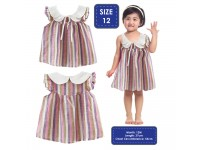 Baby Girl Toddler Girls' Multi Coloured Dress with Frilly Sleeves And White Collar Gaun Warna Warni Cantik