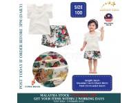 Pearl Cotton Polyester Summer Dress Sleeve Shirt Floral Short Suit Kids 2 Pcs Baju Kanak Kanak Perempuan