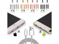 2 in 1 Lightning and Micro USB Cable Lead Charger data 1M For Apple Samsung iPhone X 7 6 Plus