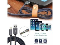 1M Denim Lightning to USB Charging Cable Lead Charger and Data Sync for Apple iPhone iPad
