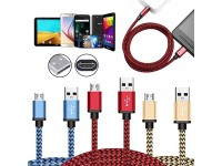 FAST CHARGER Micro USB Braided Cable Lead Data Charging for Samsung Galaxy Huawei Kindle
