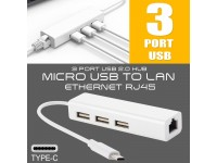 3 Port USB Type-C 3.1 to RJ45 Ethernet Lan USB 2.0 Adapter For Macbook Windows