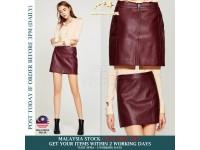 Women's PU Leather Skirt High Waist Back Zipper Mini A Line Skirts (Wine): S/M/L