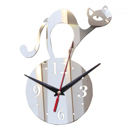 CUTE Wall Clock 3D with Cat