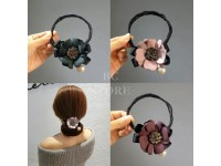 Korean Hairband with Ribbon Flower Gem Pieces Casual Ladies Headwear Accessories